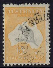 Australia - C of A wmk 5/- yellow & grey kangaroo with varieties R15 - Used
