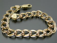 VINTAGE 9ct ROSE GOLD DOUBLE CURB LINK BRACELET C.1990