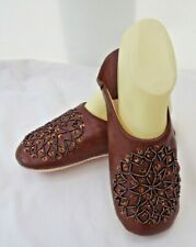 MOROCCAN * BROWN LEATHER SEQUINED SLIPPERS ALL SIZES * SNOWFLAKE DESIGN