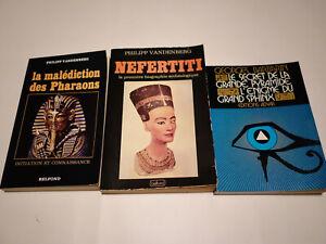 Lot 3 livres Egypte et Esotérisme Nefertiti Malédiction des pharaons Vandenberg