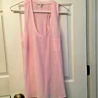 Joie Women's Pink Top Shell Blouse Size Medium Sleeveless 100% Silk Designer