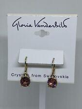 Gloria Vanderbilt Gold Tone Swarovski Crystal Lever Back New