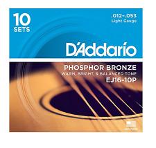 D'Addario EJ16-10P Phos. Light Acoustic Guitar Strings. (10 sets) Gauge:12-53