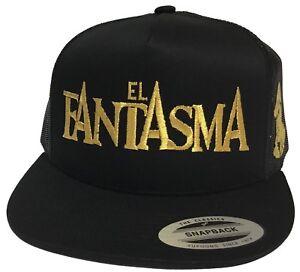 EL FANTASMA Y EL CHAPO GUZMAN GOLD MEXICO  HAT 2 LOGOS  BLACK MESH