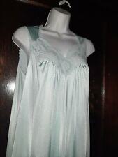 Vintage Vanity Fair Long Nightgown Sz Small Pretty Lace Light Blue Lightweight