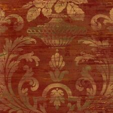SM30383 Silk Satin Distressed Rust Red Damask Wallpaper