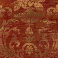 SM30383 Silk Satin Distressed Rust Red Damask Wallpaper