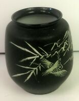 Vintage glass asian vase black exterior on white glass off white bird & bamboo