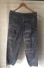 Vintage Retro Rusty Blue Camo Cargo Pants Size 10 Zip Hem 90's Grunge