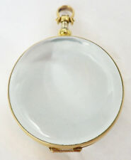 Gold Over Sterling Silver Large Round Antique Magnified Glass Locket Pendant