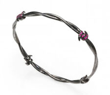 NEW $695 Stephen Webster Ruby Diamond Forget Me Knot Barb Wire Bangle Bracelet