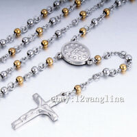 Men Chain Gold Silver Tone Bead Rosary Stainless Steel Cross Pendant Necklace