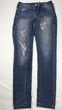 Rocawear distress Women's  strech light Blue Jeans SZ/3/4