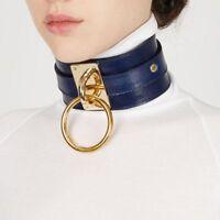 HOT Women Fashion Punk Gothic Wide PU Leather O Ring Collar Choker Necklace
