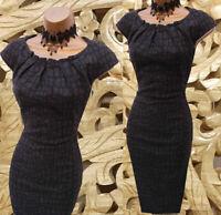 Karen Millen 14 UK Black Wool Animal Print Tailored Work Office Pencil Dress
