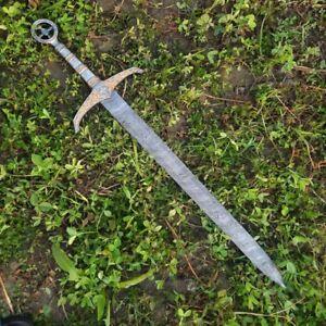 "30 "" Handmade CUSTOM DAMASCUS Forged War Hunting Sword KNIFE Razor Sharp"