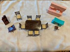 Vintage Renwal Dollhouse Dining Room Set - Table Chairs and Other