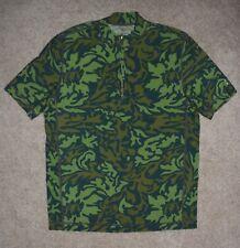 Mens Lands End Shirt Small 34-36 Nylon Swim Surf Beach Short Sleeve Green Camo