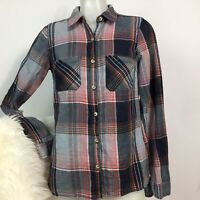 Maurices Small Pink Plaid Button Down long sleeve collared shirt flannel top