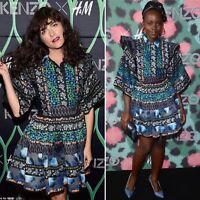 KENZO H&M BLUE GREEN PATTERNED DRESS SIZE SMALL
