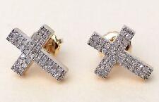 10K Yellow Gold Mens Ladies 3D Cross Real Diamonds Domed Stud Earrings Small