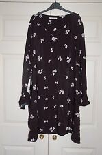 New Sz 18 Black Floral Daisy Dress Long Sleeve With Split Bow Cuff
