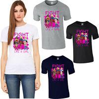 Fight Like A Girl Wonder Woman Supergirl T-Shirt Funny DC Comics Superheroes Top