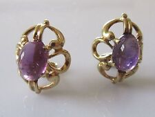 Vintage 14ct Yellow Gold Amethyst Cabochon Stud Earrings (For Pierced Ears).