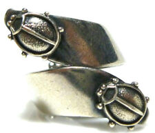 VINTAGE STERLING SILVER LADYBUG LADY BUG WOMENS BYPASS RING BAND SIZE 6.75
