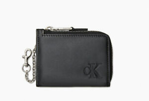 Calvin Klein Compact Zip Leather Black Wallet With Key Chain Men's 4711 0064 010