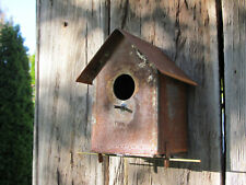 "6"" Rustic Wrought Iron Metal Wall Mount Birdhouse Garden Decor Handmade in Usa"