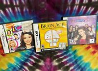 Lot Of 3 Nintendo DS Games - iCarly, Brain Age, Victorious- DS Games