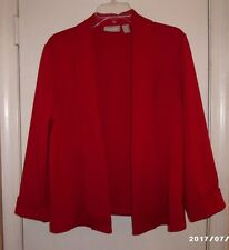 CHICO'S RED Long Sleeve Unlined Jacket SZ 2 EC!!!!