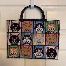New Handmade Cat Purse Bag Handbag Bamboo Handles Crazy Cat Lady Cute Pocketbook