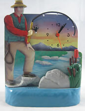 Novelty Plastic FIsherman Clock - Battery Powered - Approximately 8 inches tall