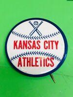 1950s Vintage KC Kansas City Athletics A's Baseball 1 3/4 Inch Pin Pinback