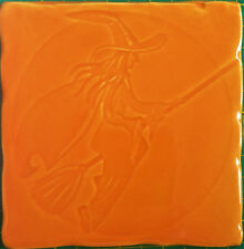 Handmade tile, Witch design in Tangerine colour glaze, RC, handmade in  U.K.