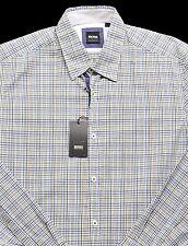 Men's HUGO BOSS White Black Blue Plaid OBERT Shirt M Medium NWT NEW Amazing!