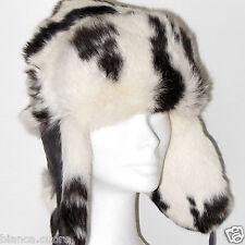 Cappello Pelliccia VERO LAPIN bianco aviatore uomo donna colbacco collo E0860