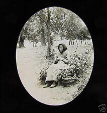 Glass Magic lantern slide OLD WOMAN IN TORUN POLAND C1890