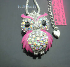 556F?   Betsey Johnson Crystal Pink AB  Enamel Cute Owl Pendant Long Necklace