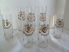 """Vintage ( 7) Old Whiskey Label 6.5"""" tall Tumblers Glasses"""