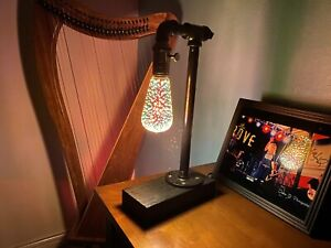 Handmade Industrial Style Vintage Desk Lamp with Infinity Bulb