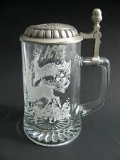Vtg Crystal Glass German Hunting Beer Stein Lidded Mug Germany Elk Deer & Acorns