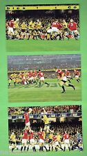 #D66. SET OF  SIX RUGBY UNION POSTCARDS, 2001 WALLABIES V LIONS, COLONIAL STAD.