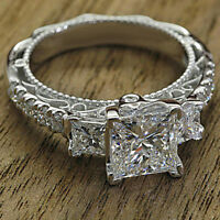 Real 14K White Gold 3.00 CT Diamond Princess Cut Three Stone Engagement Ring