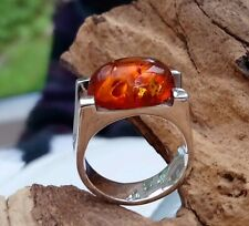 QUALITY STUNNING Sterling Solid Silver Gent's Amber Cabochon Ring
