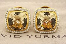 David Yurman Albion Diamond Stud Earrings 18k Yellow Gold Large 14mm Citrine