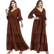 Women's Printed V-Neck Party Loose Maxi Dress Casual Ruffle Tunic Summer Dresses