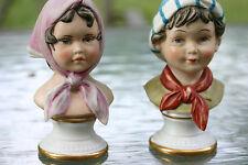 Vtg Pair of Decorative Porcelain Busts of Boy & Girl in East European Dressing